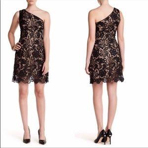 Dress The Population One Shoulder Lace Dress
